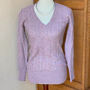 Cabi Mauve Purple Cable Knit Sweater #744